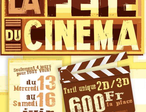 Fête du cinéma du 13 au 16 juin 2018